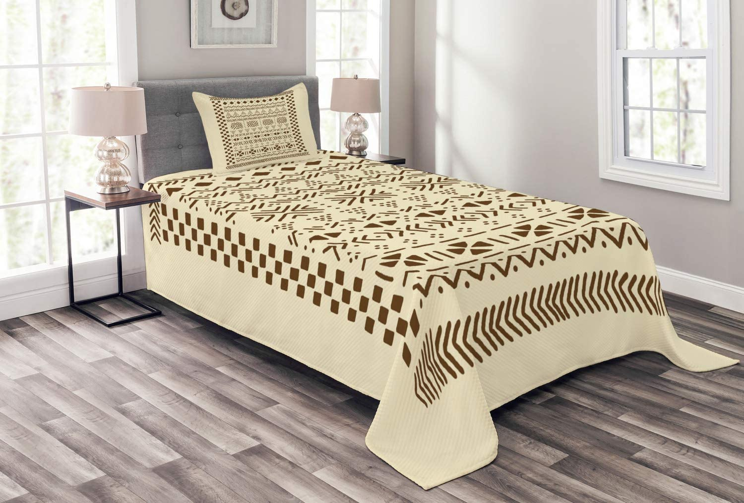 Ambesonne Brown and Beige wit Bedspread Sales results No. 1 Traditional Composition Cheap