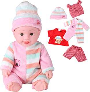 Ohuhu 15 inch Soft Body Baby Doll Toy, All Vinyl Washable Doll Baby Boy Doll with Summer Clothes and Winter Clothes, Pink Skin and Brown Eyes for Children Age 1+, Perfect as Christmas Gift