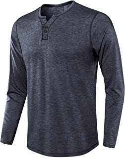 Men's Cotton Henley Shirt Soft Basic T-Shirts with Long Sleeve