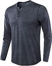 ZHPUAT Men's Cotton Henley Shirt Soft Basic T-Shirts with Long Sleeve