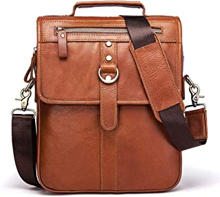 Casual Men's Single Shoulder Bag with Leather Multi-Function Cross-Body Bag Fashionable Head Layer Cowhide Men's Bag (Color : Brown, Size : S)