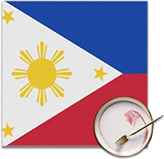 HuiboJu Trading Republic of The Philippines National Flag Placemats Set of 4 Heat-Resistant Placemats for Dining Table Polyester Fiber Stain Resistant Table Mats Washable Placemat Easy to Clean