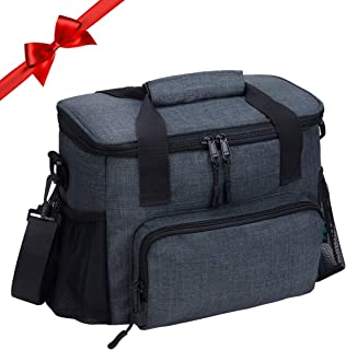 Lunch Box for Men, 18 Cans Large Leak-proof Insulated Lunch Box, Soft Adult Big Mens Lunch Bag with Shoulder Strap and Side Pocket for Work and Outdoor by F40C4TMP