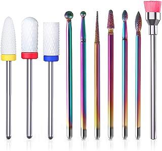 Nail Drill Bits Kit 10pcs - YaFex Ceramic Efile Nail Bit for Acrylic Gel Nails 3/32 Inch Carbide Cuticle Nail File Bits for Electric Manicure Pedicure Nail Drill