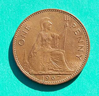Queen Elizabeth II 1967 British One Large Penny Coin