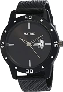 Matrix Analog Men's & Boy's Watch (Black Dial, Black Colored Strap)