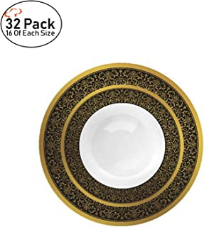 TigerChef Black and Gold Soup and Dessert Bowls Set Heavy Duty Plastic Allure Dinnerware Collection Disposable Recyclable Reusable Pack of 32-16 of Each Size (Soup & Dessert Bowl Set, Black and Gold)