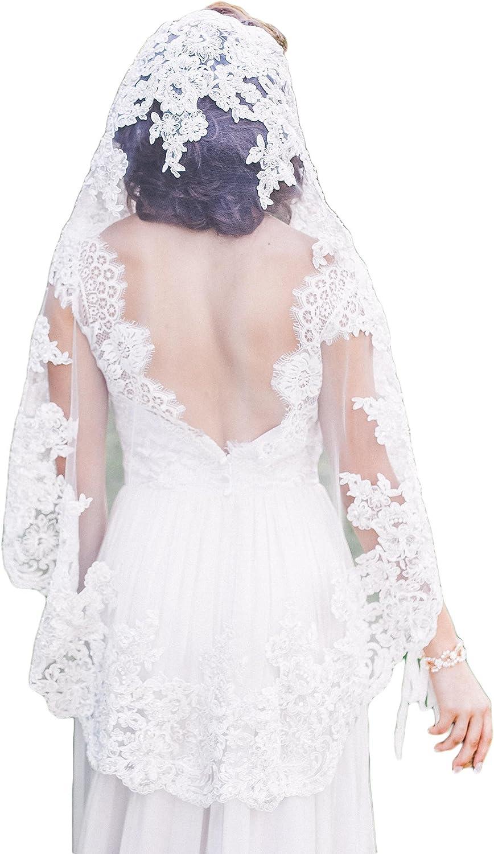 Fenghuavip White Lace Bridal Veils for Wedding Short Length