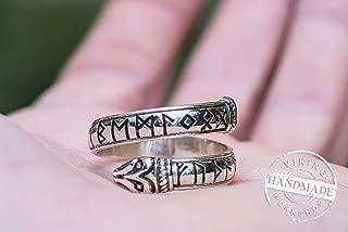 Jormungandr Ring with Elder Futhark Runes Handmade Viking Ring Sterling Silver Norse Jewelry