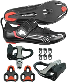 Bicycle Bike Cycling Triathlon Shoes Compatible with Shimano SPD SL Look with Pedals 48