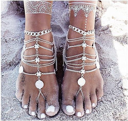 Edary Lot de 2 sandales de cheville avec pompons et pièces de monnaie pour femme et fille Style bohème rétro