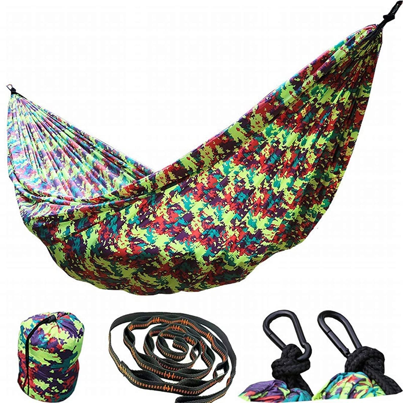 Souliyan Lengthen and Widen 3 People 300200Nylon Lightweight Parachute Cloth Hammock Camouflage Nylon Camping Hammock