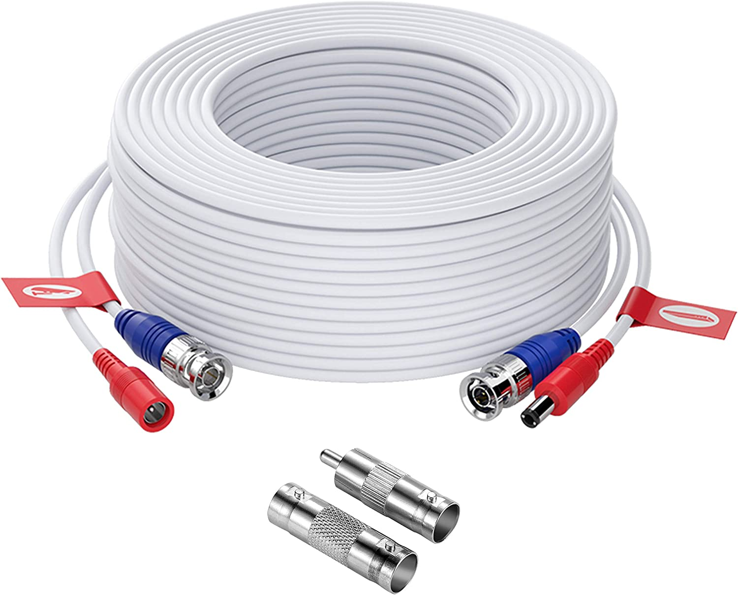 ZOSI Security Camera Cable,100ft 30M BNC Video Power Cable,Surveillance Camera Wire Cord Extension Cable for 4K 8MP 5MP 1080P Video CCTV DVR Camera System,White(Included BNC Connectors)