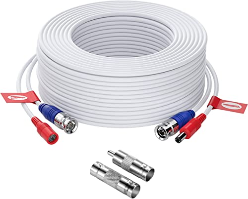 ZOSI 100ft 30 Meters 4K 8MP 5MP 3MP 2MP 1080P 720P All-in-One CCTV Video Power Cables, BNC Extension Security Wire Co...
