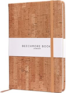 Ruled Notebook - Premium British A5 Journal by Beechmore Books   Hardcover Vegan Leather, Thick 120gsm Cream Paper, Professional Lined Notebook in Gift Box (Beige Cork)