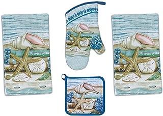 4 Piece Stories of the Sea Kitchen Set / Bundle - 2 Terry Towels, Oven Mitt, Potholder