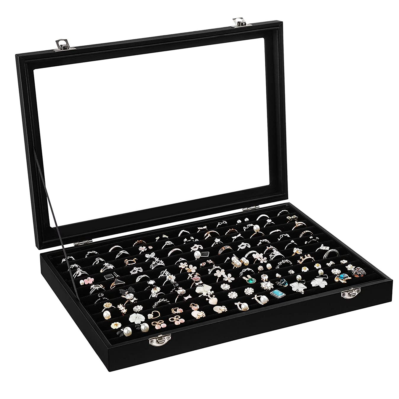 SONGMICS 100 Ring Display Case 11 Rows Jewerly Organizer Earring Showcase Box with Glass Lid Black UJDS301