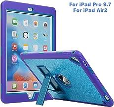 iPad Pro 9.7 Case, iPad Air 2 Case, ZERMU [Kickstand] 3in1 Heavy Duty Shockproof Rugged Silicone+Hard PC Bumper Glitter Sparkle Bling Shining Fashion Armor Defender Case for iPad Pro 9.7/ iPad Air 2