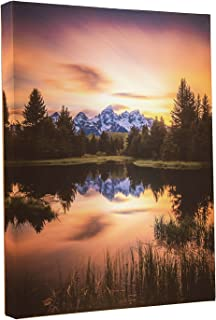 Clever Creations Light Up Grand Tetons Canvas Wall Art Sunset Forest Mountain by a Lake with LEDs | 12