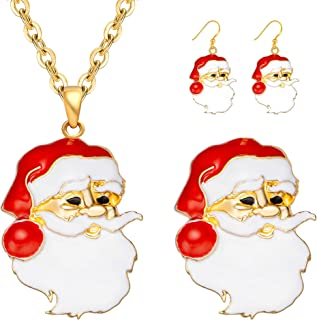 M MIRACULOUS GARDEN 3-6 Pack Christmas Jewelry Sets for Women Girls, Enameled Xmas Holiday Jewelry Christmas Necklace Broo...