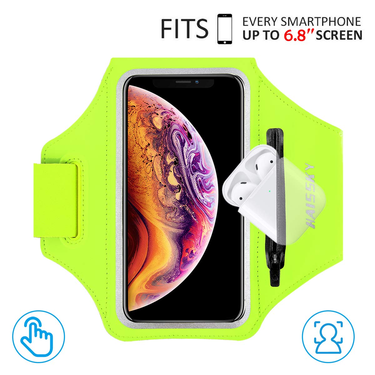 Fit up to 4.9-inch Phone iPhone X Armband Trianium Sport Armband with Water Resistant Layer for iPhone X /& Galaxy S9 Adjustable Reflective Workout Band//Key Holder /& Screen Protection