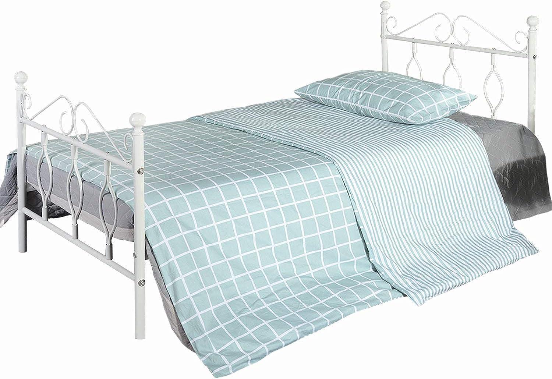 Aingoo Metallbett mit Lattenrost Bettrahmen Kopfteil Gstebett Jugendbett Kinderbett Single Bed Wei