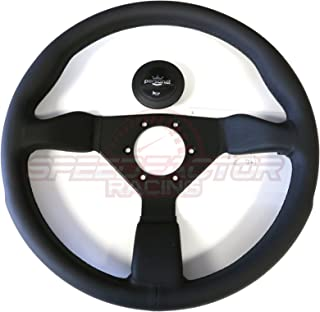 Personal Neo Grinta Black Leather/Black Stitch/Silver Horn Button Steering Wheel/350MM