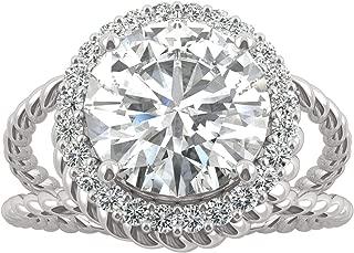 14K White Gold Forever Brilliant 9mm Round Halo Split Shank Engagement Ring, 2.94cttw DEW by Charles & Colvard