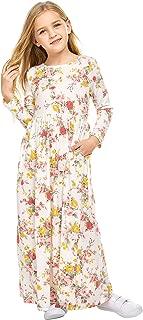 Girls Long Sleeve Dress Floral Print Maxi Long Dress Boho Dress with Pockets