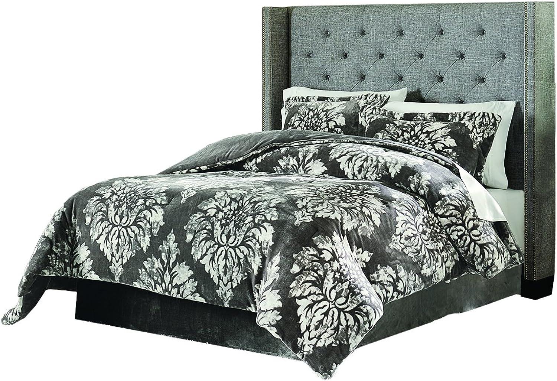 Lenox C1512050-SCK-AST-DAMASK Velvet Plush Comforter Set Damask King, Grey