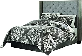 Lenox C1512050-SCQ-AST-Damask Velvet Plush Comforter Set Damask F/Q, Full/Queen, Grey