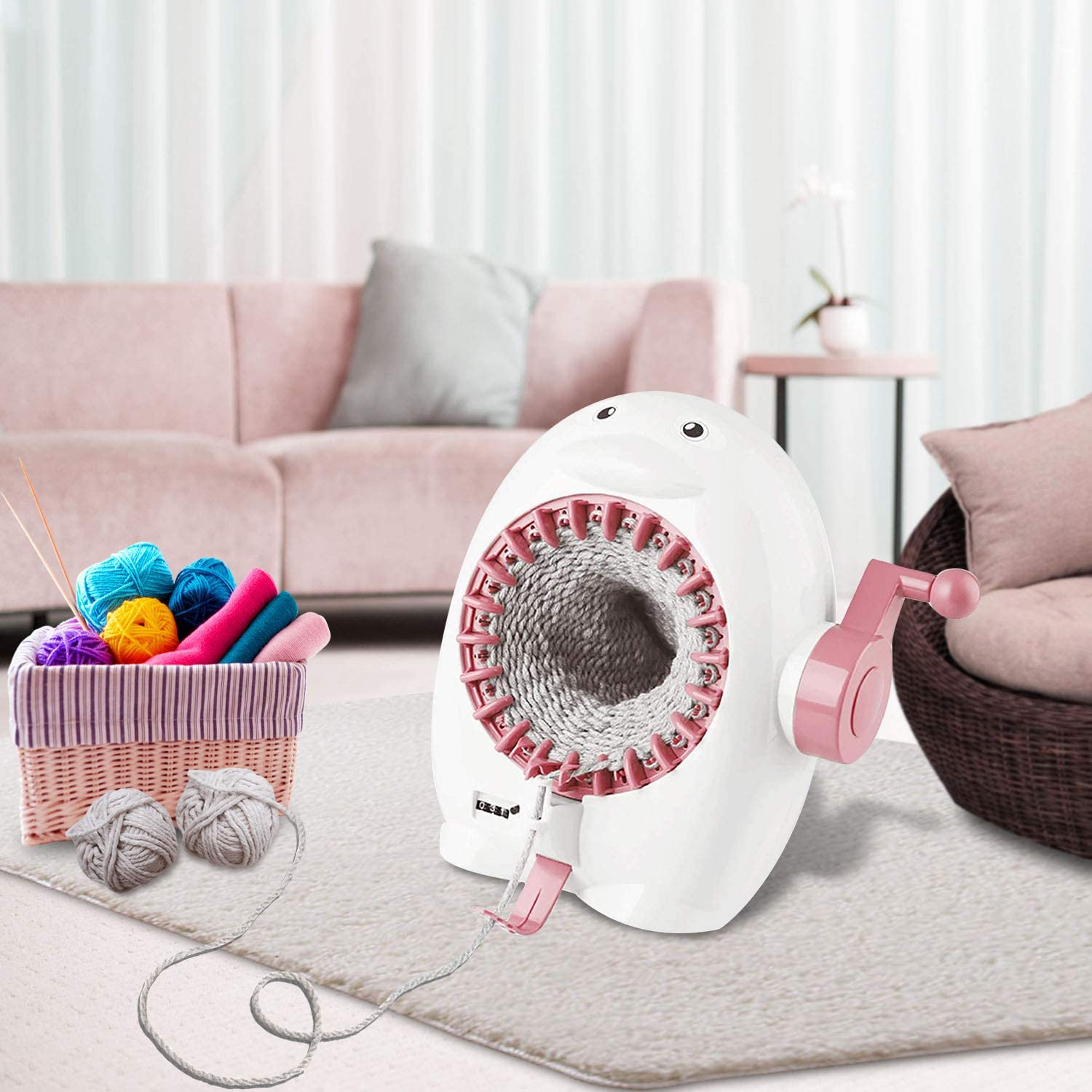 22 Needles Knitting Loom Machine with Row Counter Knitting Board Rotating Double Knit Loom Machine Kits Smart Knitting Loom Round Loom for Adults//Kids FYGAIN Knitting Machine