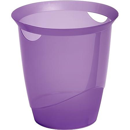 Durable 1701710992 Trend Corbeille à Papier Bureau Poignées Intégrées Plastique Violet Translucide 16 Litres Hauteur 33cm