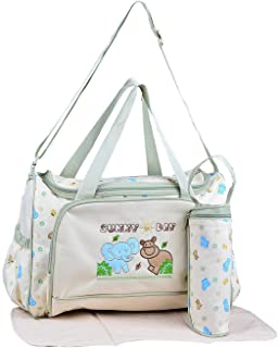 Atikanti Multipurpose Mother Bag with Holder Bottle Cover & Mat Included Baby Diaper Bag Color Beige