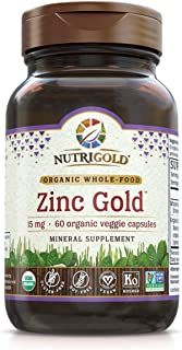 Organic Zinc Supplement - Zinc Gold 15 mg, 60 Veggie Capsules, Whole Food, Non-GMO