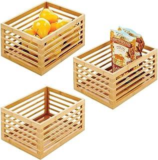 mDesign boite de rangement en bois de bambou – organiseur cuisine durable pour le plan de travail, l'étagère ou le placard...