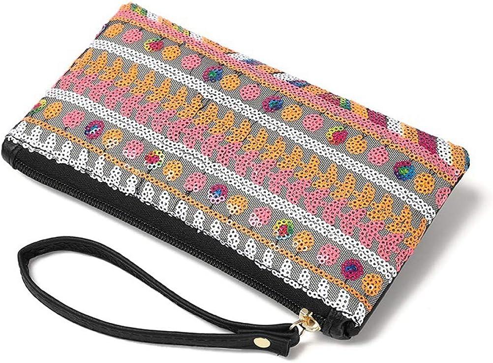 Fenical Clutch Handtasche Pailletten mit Rei/ßverschluss Geldb/örse Glitter Ethnische Handtasche f/ür M/ädchen Damen