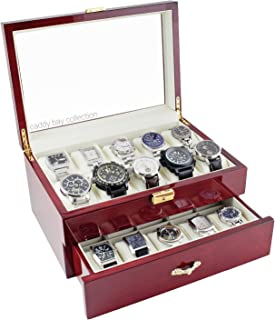 Rosewood Finish Watch Case Display Storage Watch Box Chest With Glass Clear Viewing Top Holds 20 Watches