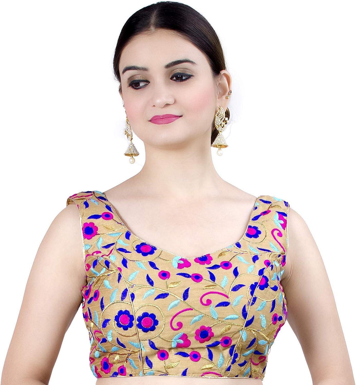 Chandrakala Women's Party Wear Bollywood Readymade Indian Style Saree Blouse Padded Resham work Choli (B108)