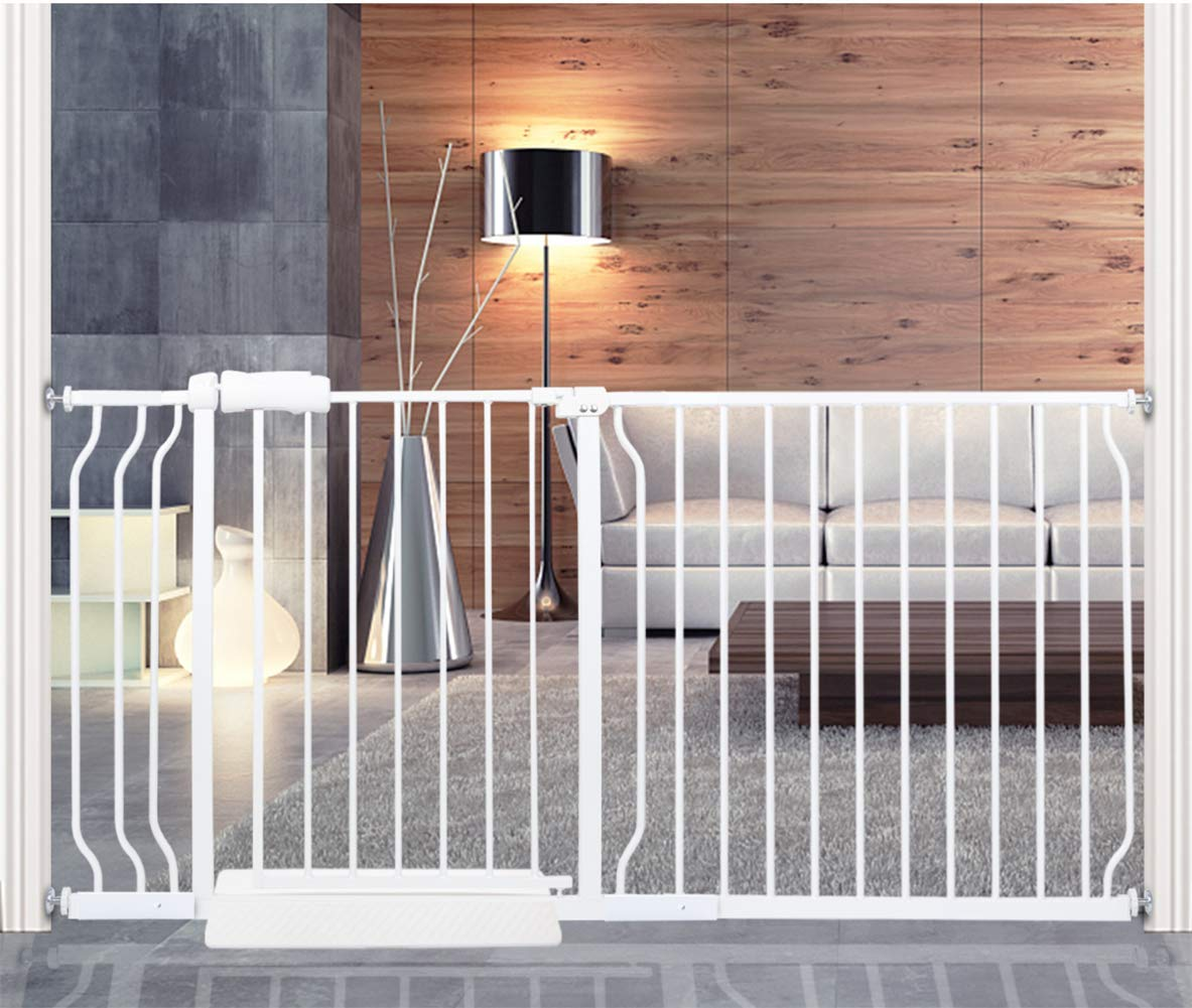 HOOEN Extra Wide Baby Gate for Doorways Stairs Living Room Pressure Monuted Walk Through Safety Gate for Kids or Pets Dogs 62 Inch to 67 Inch Wide with Extensions