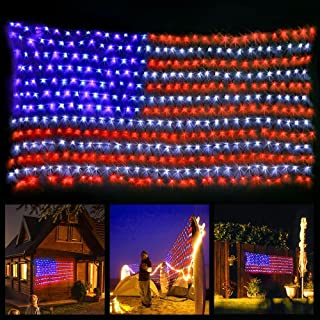 FAMILy Led Flag Net Light of The United States, Waterproof American Flag Light 6.5ft×3.28ft for Independence Day, Memorial Day, Festival, Garden, Indoor and Outdoor
