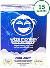 Wize Monkey Tea, Earl Grey, 15 Biodegradable Tea Bags, Lightly Caffeinated Tea, Sustained Energy and Focus, Antioxidant Rich, Smooth Refreshing Taste, Non-GMO, Zero Carbs