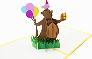 PopLife Dancing Bear 3D Pop Up Greeting Card for All Occasions - Baby Animal Lovers, Classic Show - Folds Flat for Mailing - Baby Shower, Birthday Gift, Get Well, Newborn Announcement, Congratulations