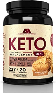 Keto Meal Replacement, 20 Servings, 227 Calories, 75% F,20% p, 5% c (20 Servings) (Peanut Butter Cookie)