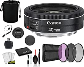 Canon EF 40mm f/2.8 STM Lens (6310B002) Lens with Bundle Package Deal Kit Includes 3pc Filter Kit (UV, CPL, FLD) + Lens Pouch + More photo
