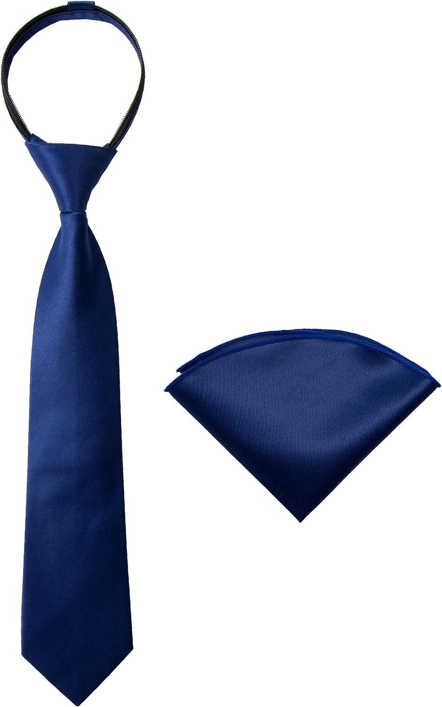 Spring San Jose Mall Notion Boys' Discount mail order Satin Zipper Necktie Handkerchief Set and