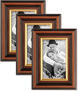 Photolini 3-Piece Set Picture Frame 4 x 6 Inch Antique Dark Brown with Gold Edge Massive Wood with Acrylic Glass Insert and Accessories