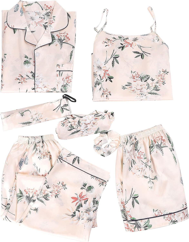 xoxing 7-Piece Pyjamas Woman Cotton Set Lingerie Pants Headband Blindfold Top Satin Dressing Gown Sleepwear Set (C)