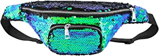 Multifit Creative Sequin Waist Bag Outdoor Fanny Pack Glitter Bum Bag for Raves