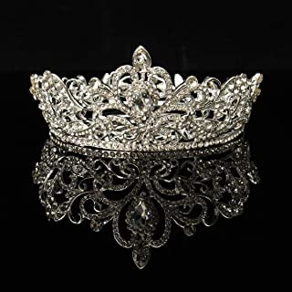 Crystal Tiara Crown Headband, Silver Diamond Shape Tiaras Accessories Rhinestone for Wig Cosplay Costume Bridal Pageant Queen Crowns Prom Wedding Headband Birthday